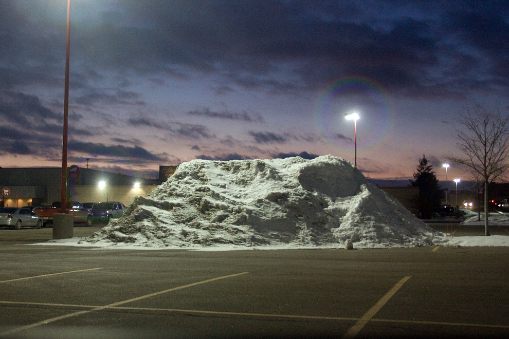 Parking lot mound of snow