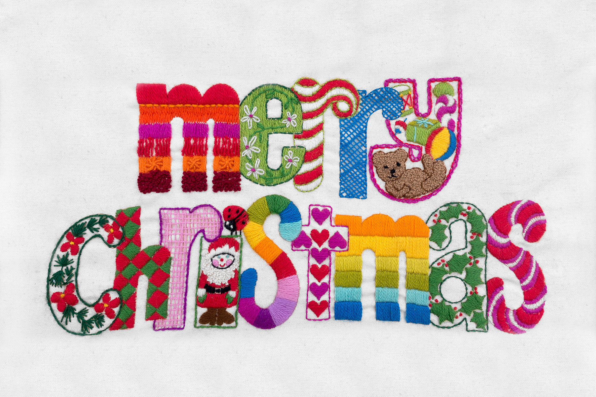 Merry Christmas embroidered