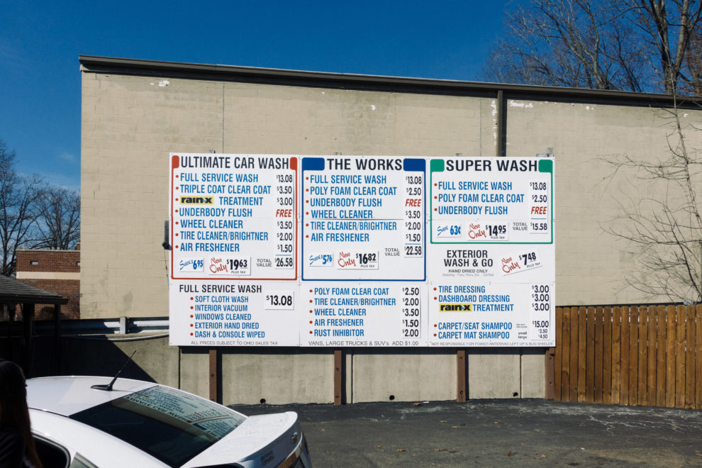 Car Wash Menu