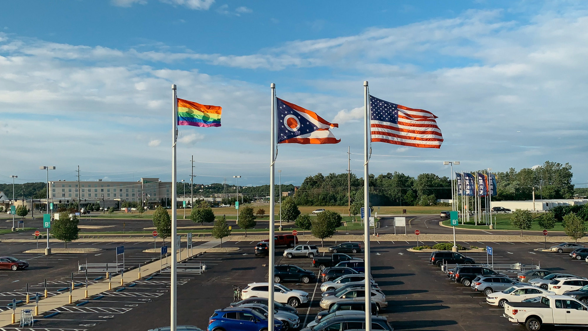 Ohio, Pride and American flags outside of IKEA store