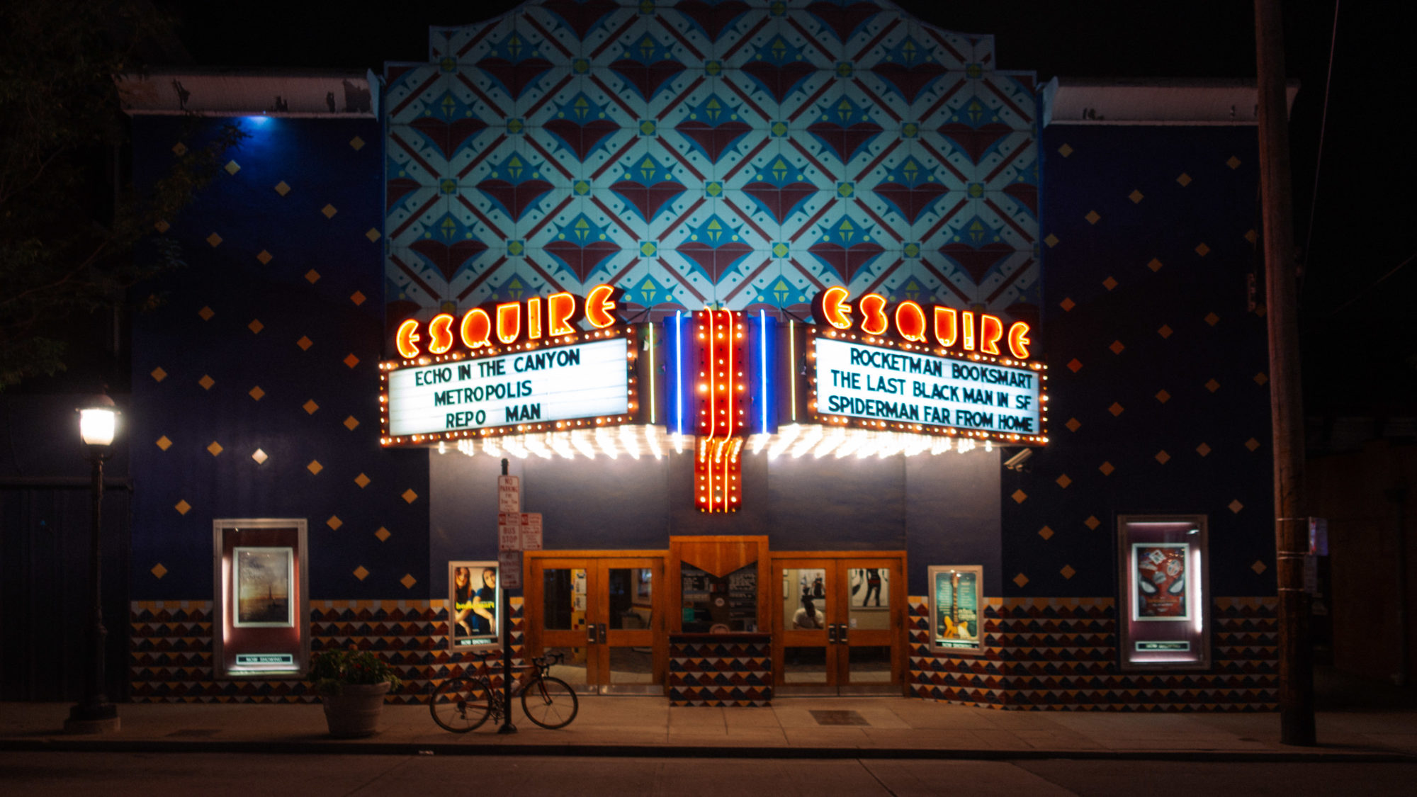 Esquire Theater marquee at night