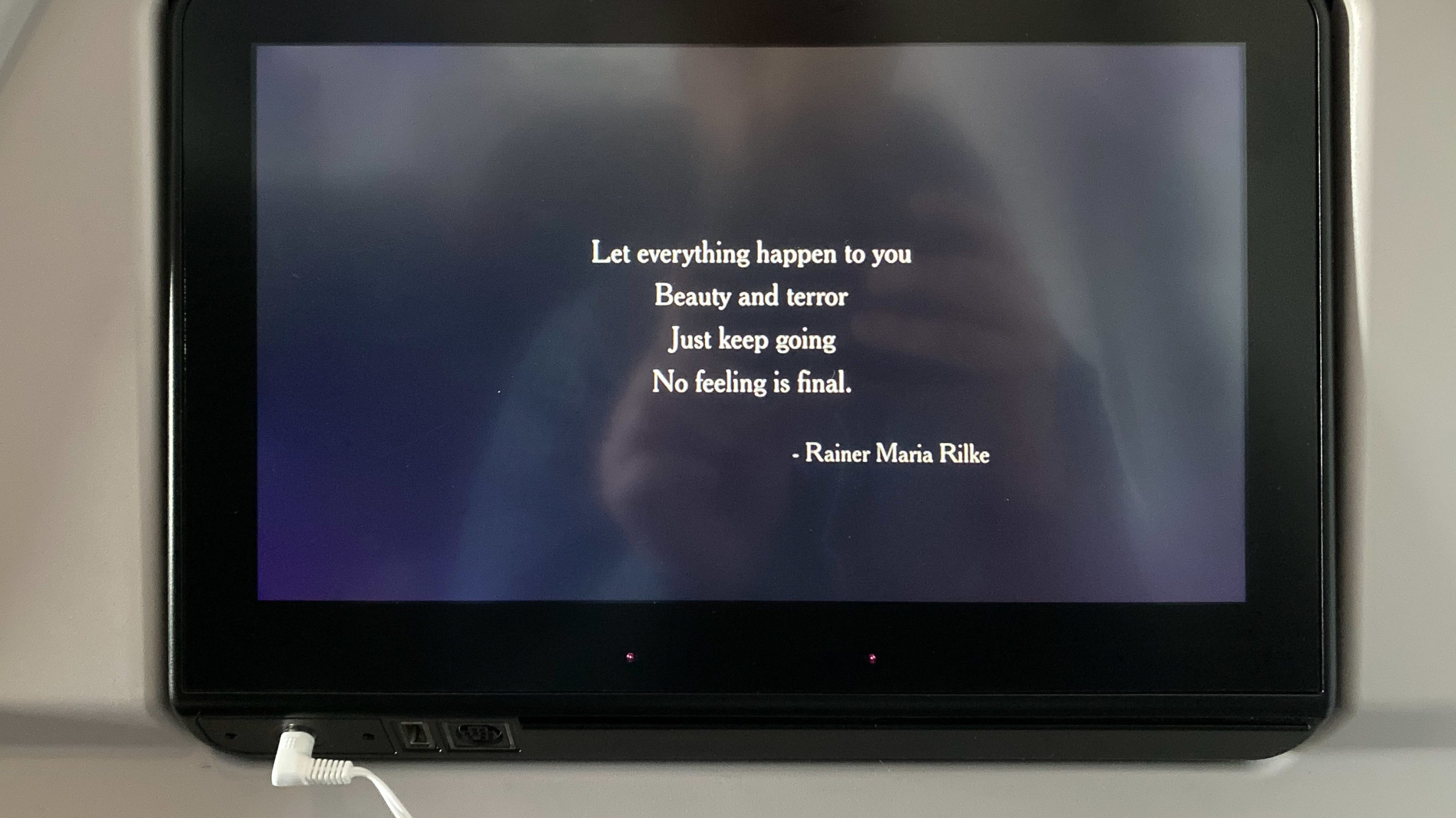 Quote on seatback screen with Rainer Maria Rilke quote