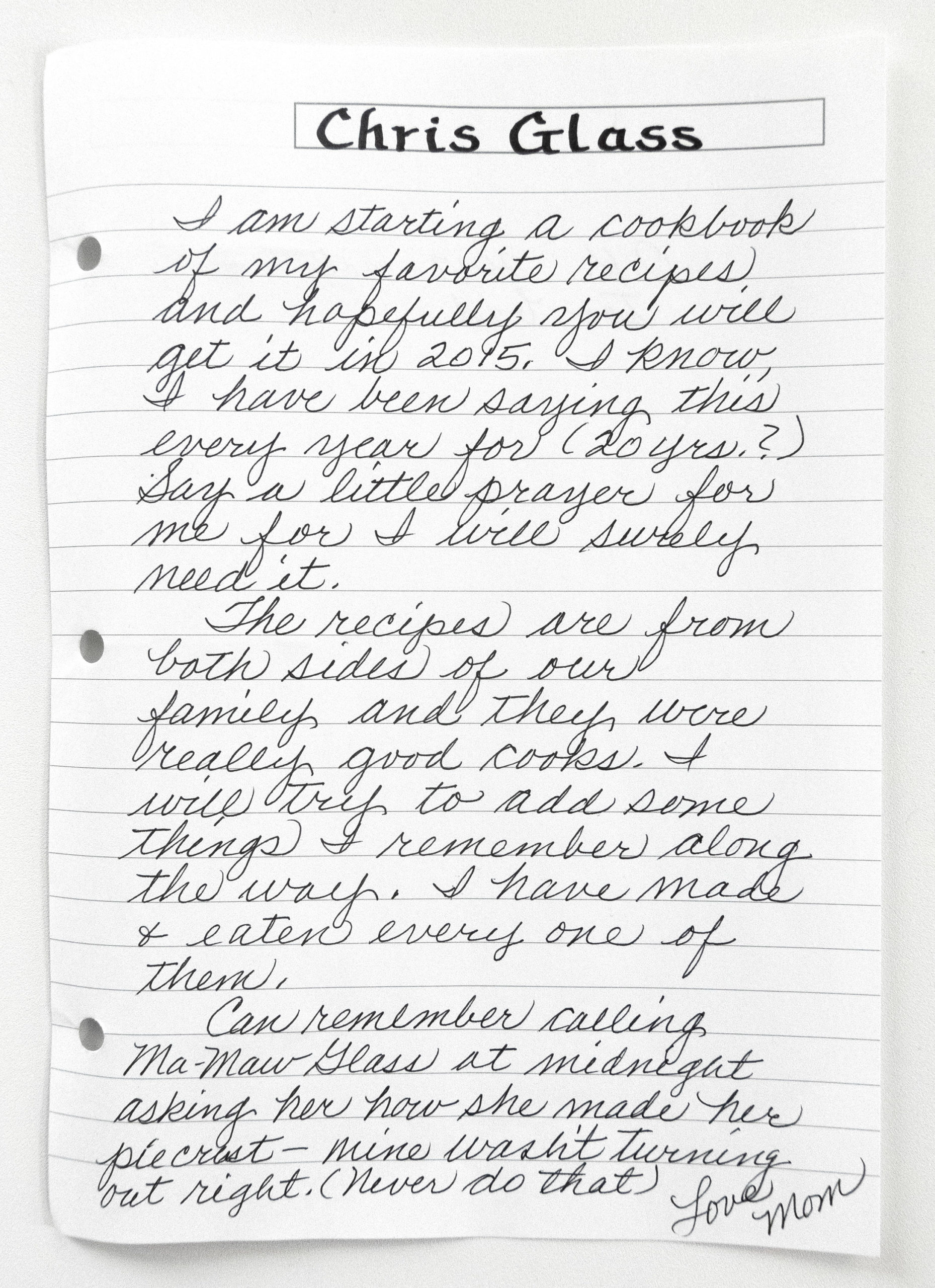 introduction to family cookbook handwritten