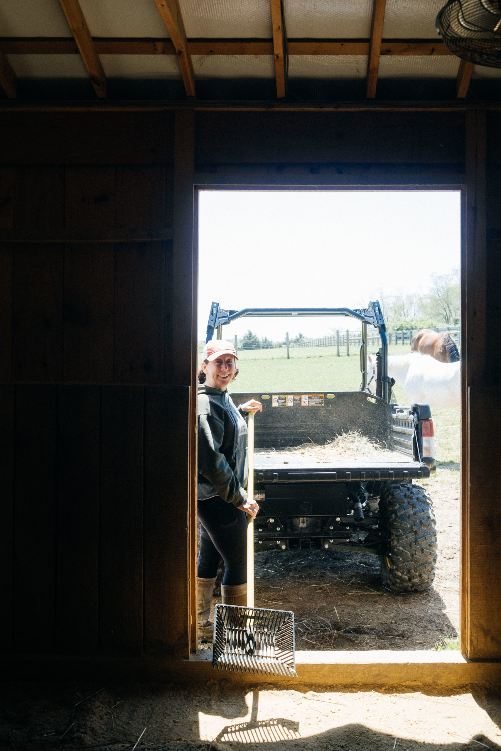 Wendy cleaning out the stable