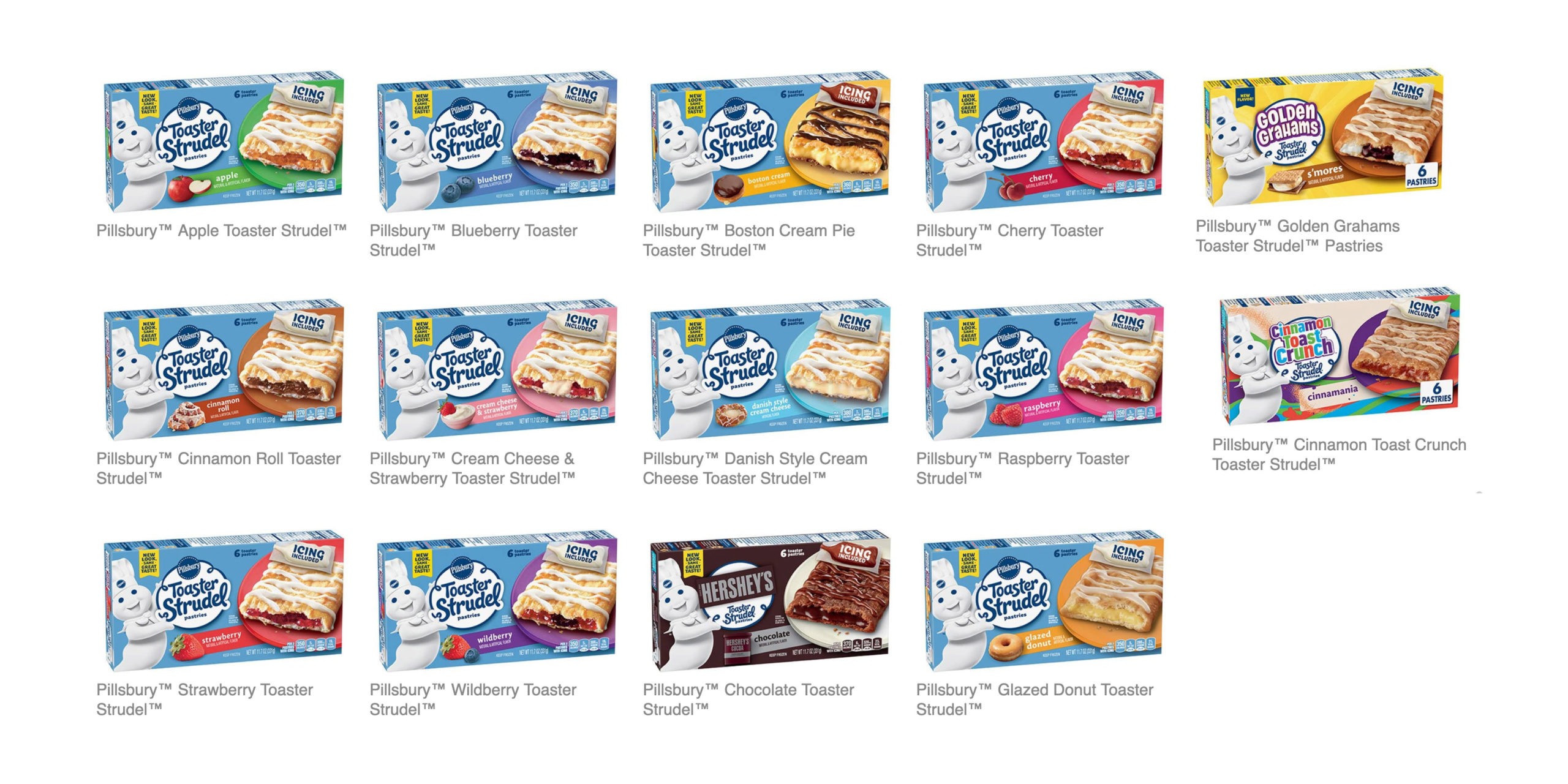The fall 2020 varieties of Pillsbury Toaster Strudels