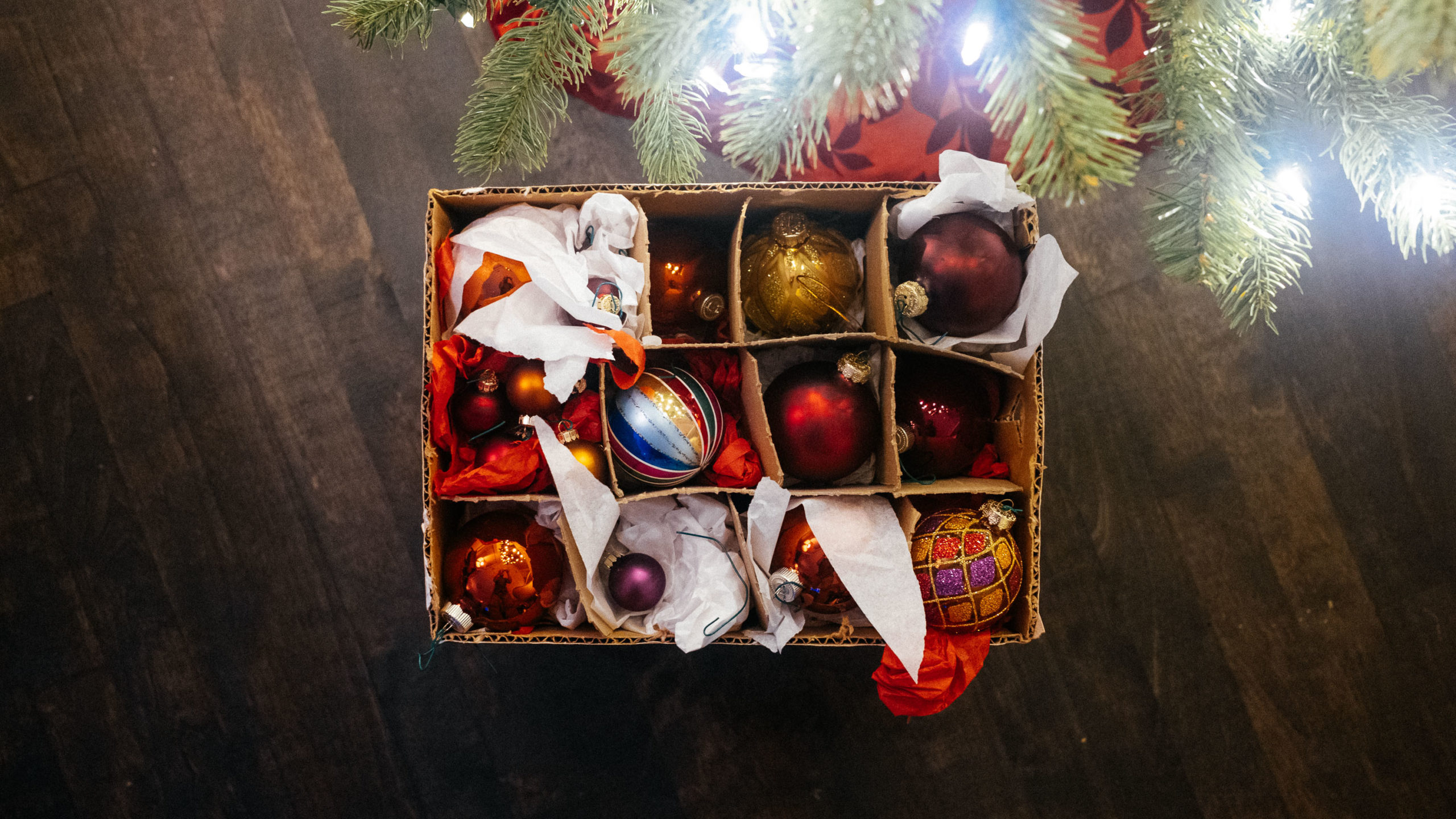 Christmas ornaments in a wine box