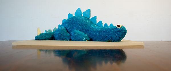 blue dinosaur cake