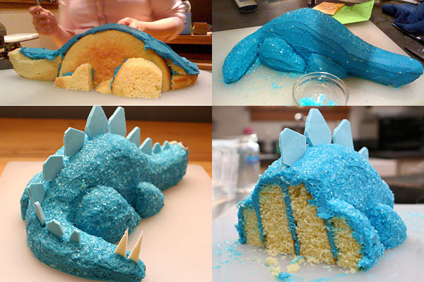 Blue dinosaur cake for 3d dinosaur cake template