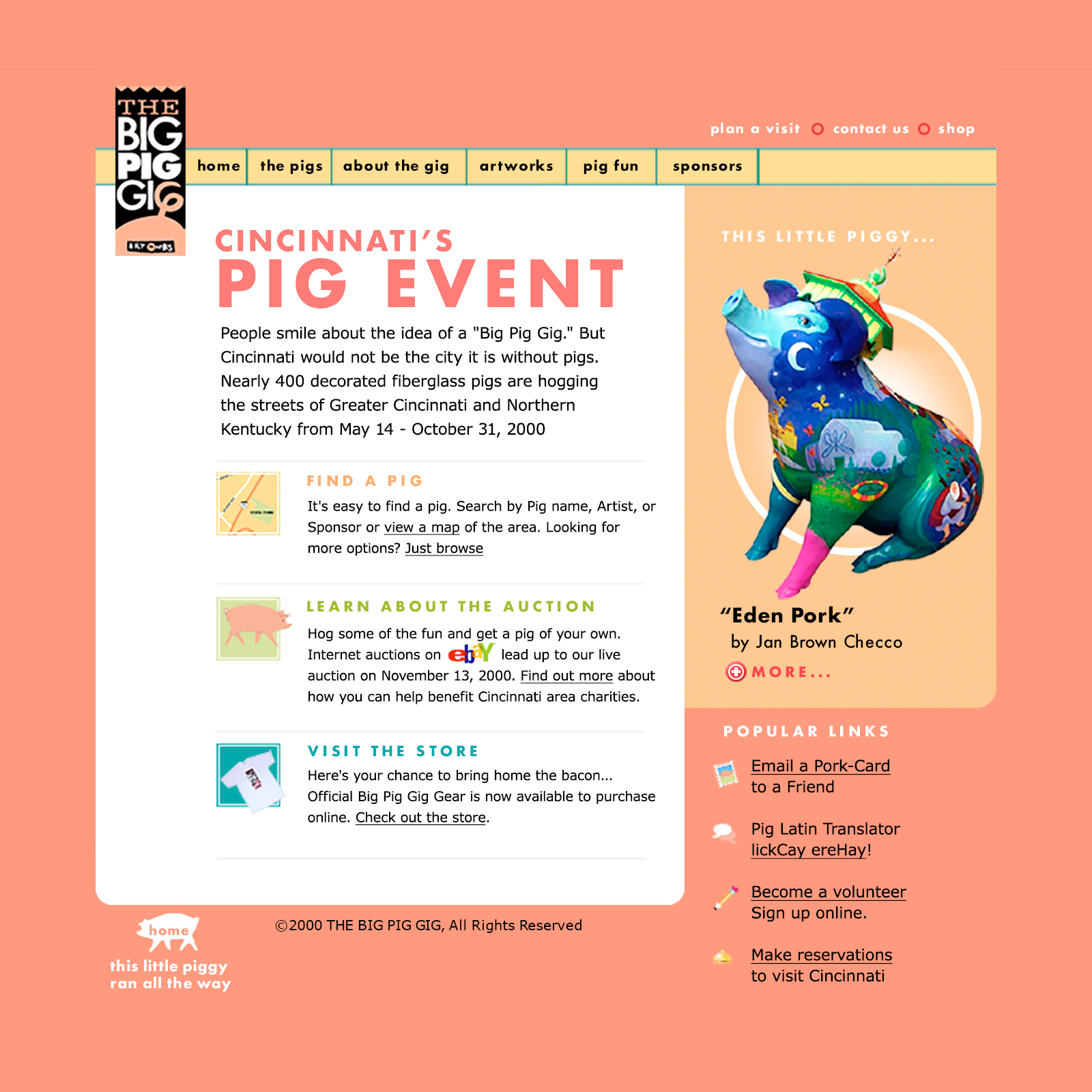 The Big Pig Gig website from the year 2000