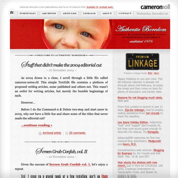 Cameron Moll's old weblog
