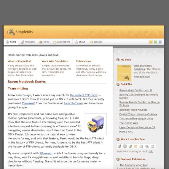 Simple Bits website circa 2004