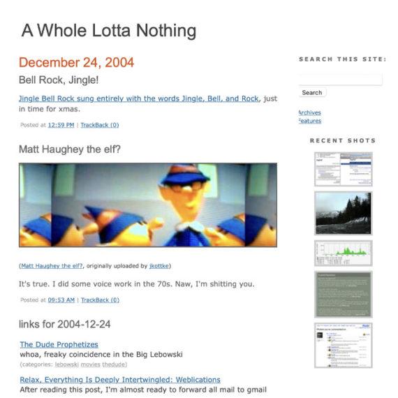 Screengrab of a weblog