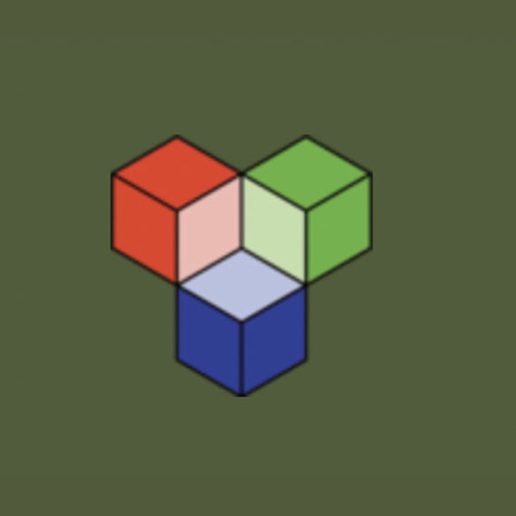 A logo of three isometric cubes