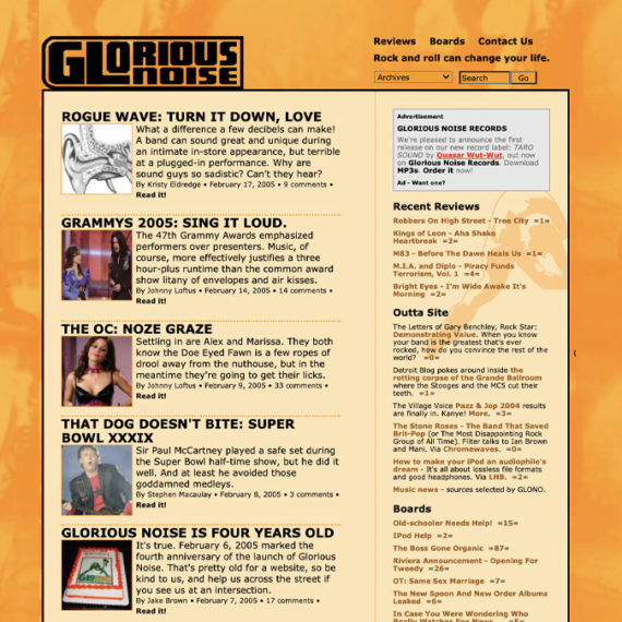 Glorious Noise website grab from 2005