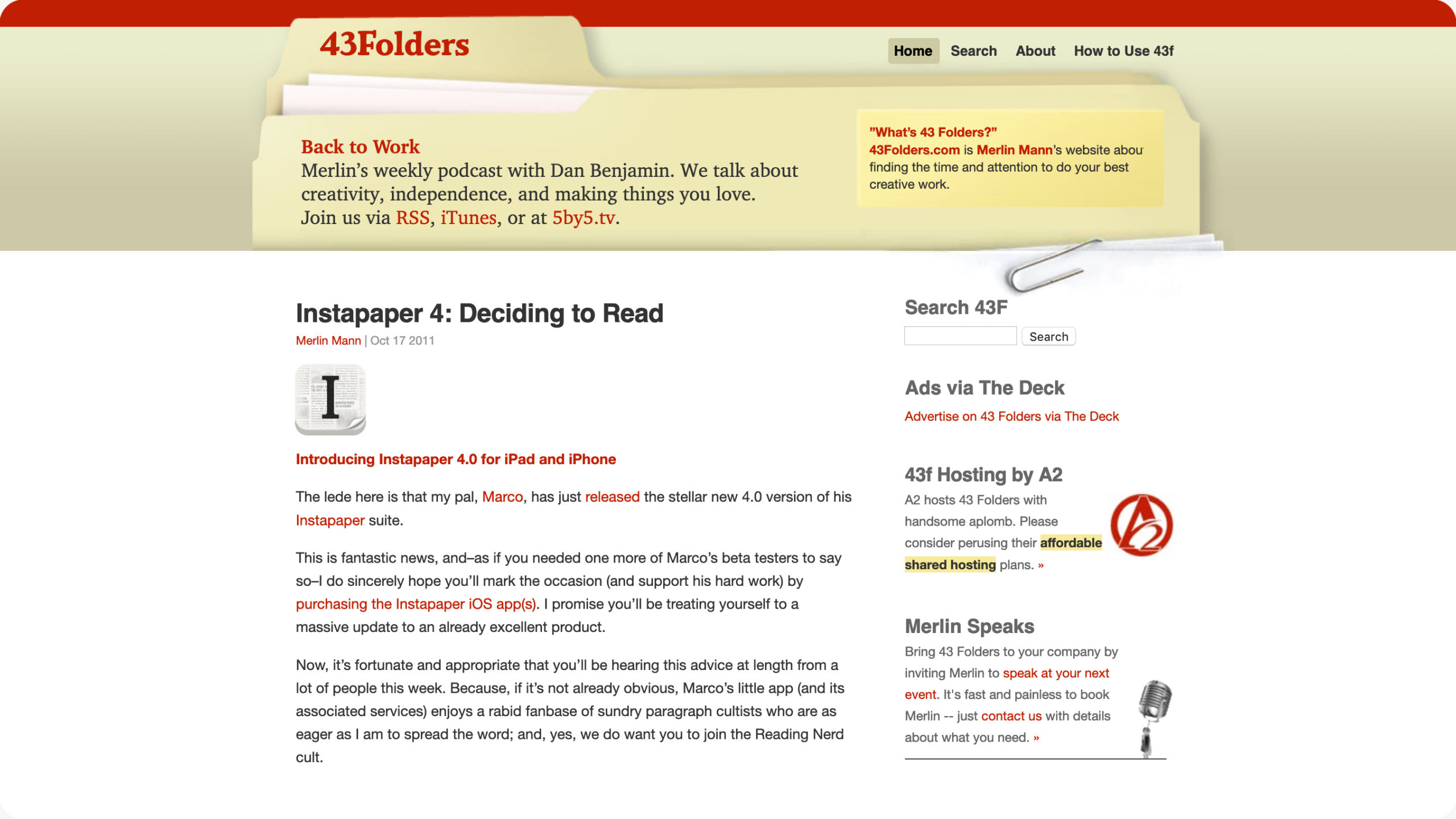 43 Folders website header