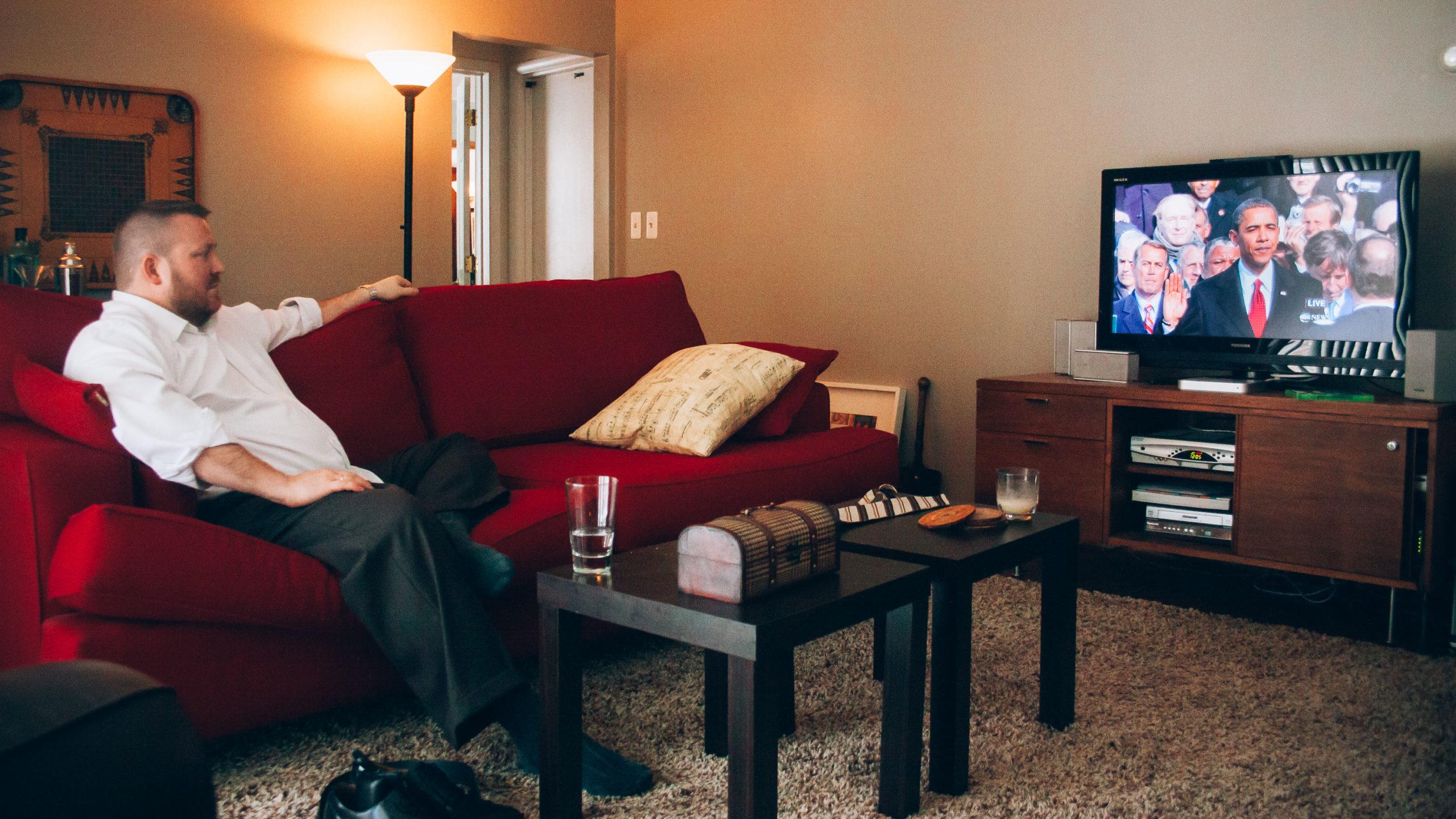 Obama Inauguration on the television in Dayton, Ohio