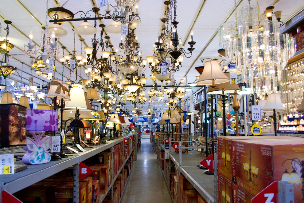 The lighting aisle in Lowes