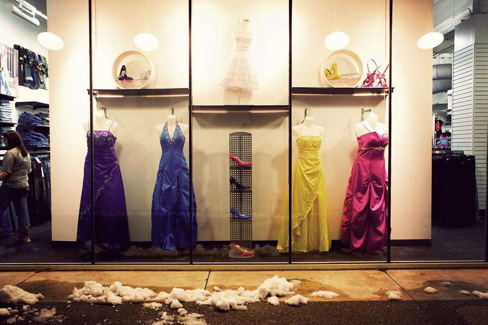 Prom dresses on display