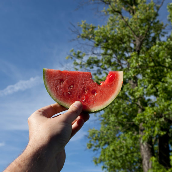 A hand holding watermelon up to the blue sky and trees