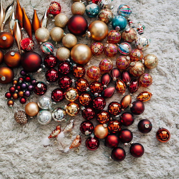 Ornaments on hile pile rug