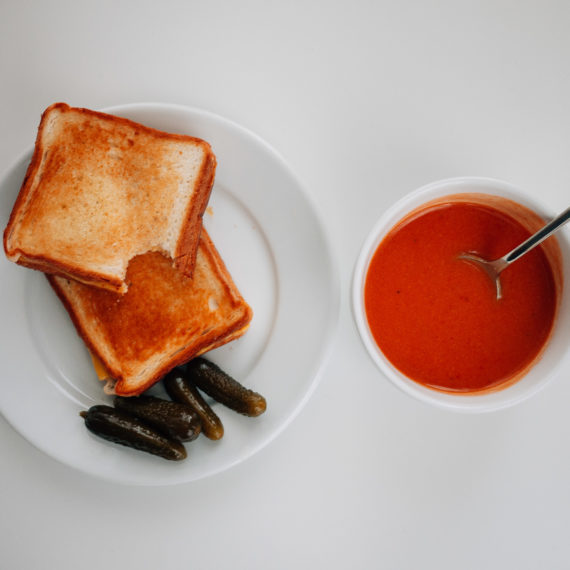 Grilled cheese and tomato soup with pickles