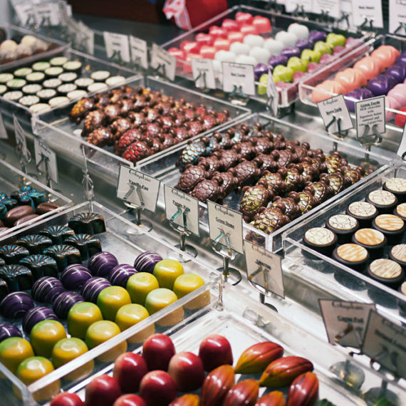 A bunch of chocolates on display