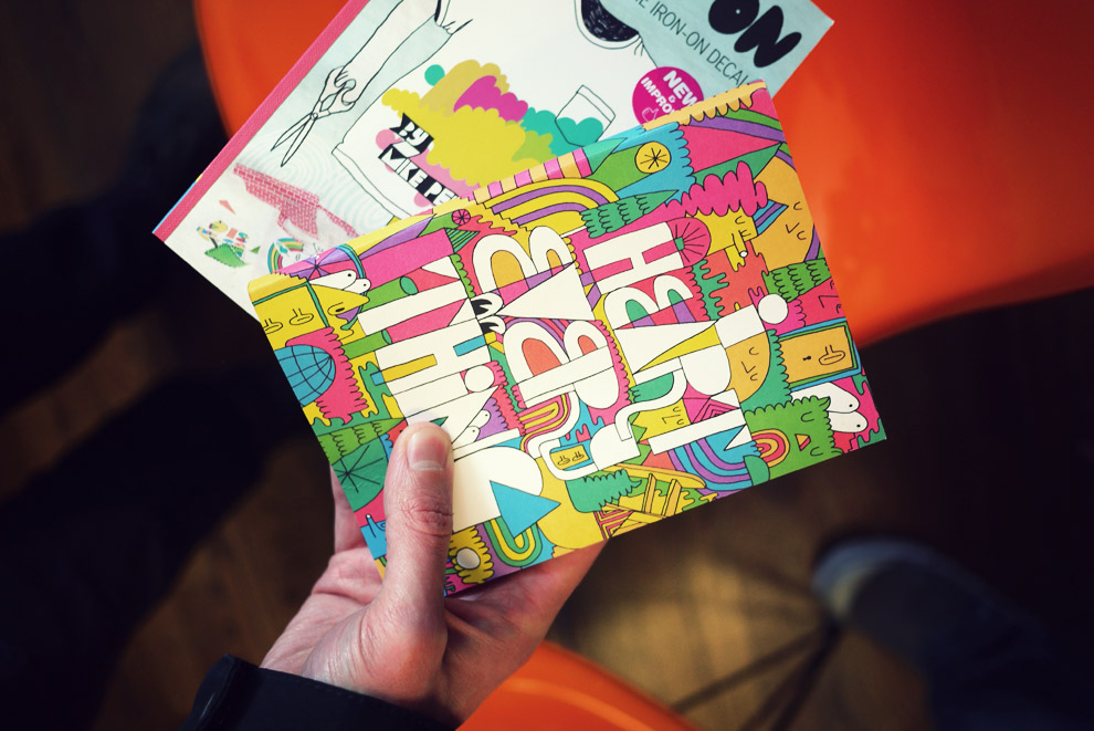 Colorful books by the artist Mike Perry