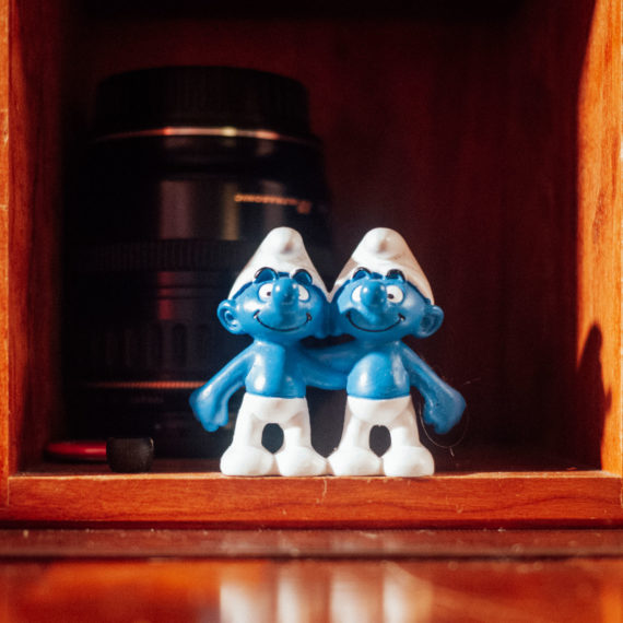 A pair of Smurfs (toys)