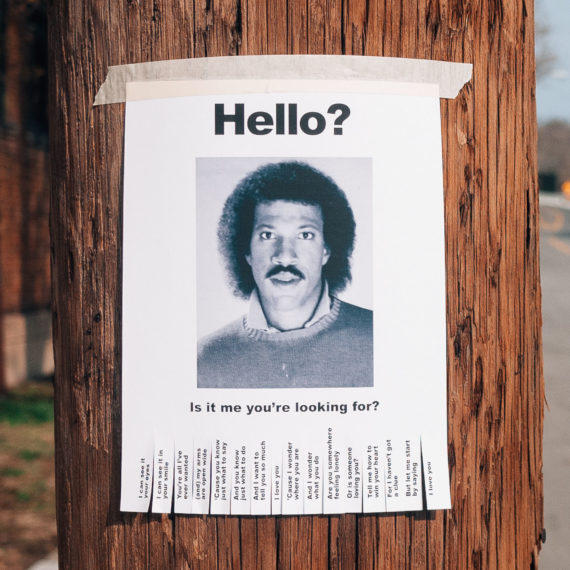 A flyer for a missing person that is Lionel Ritchie