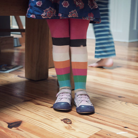 Striped tights on a young person