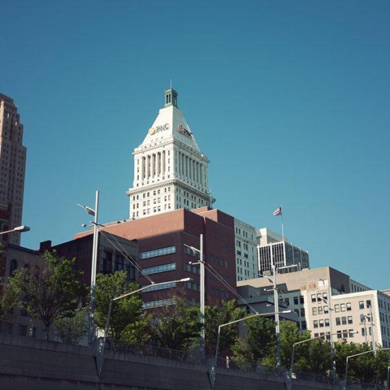 A banking skyscraper in a city