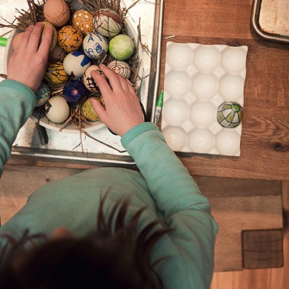 Arranging decorated eggs