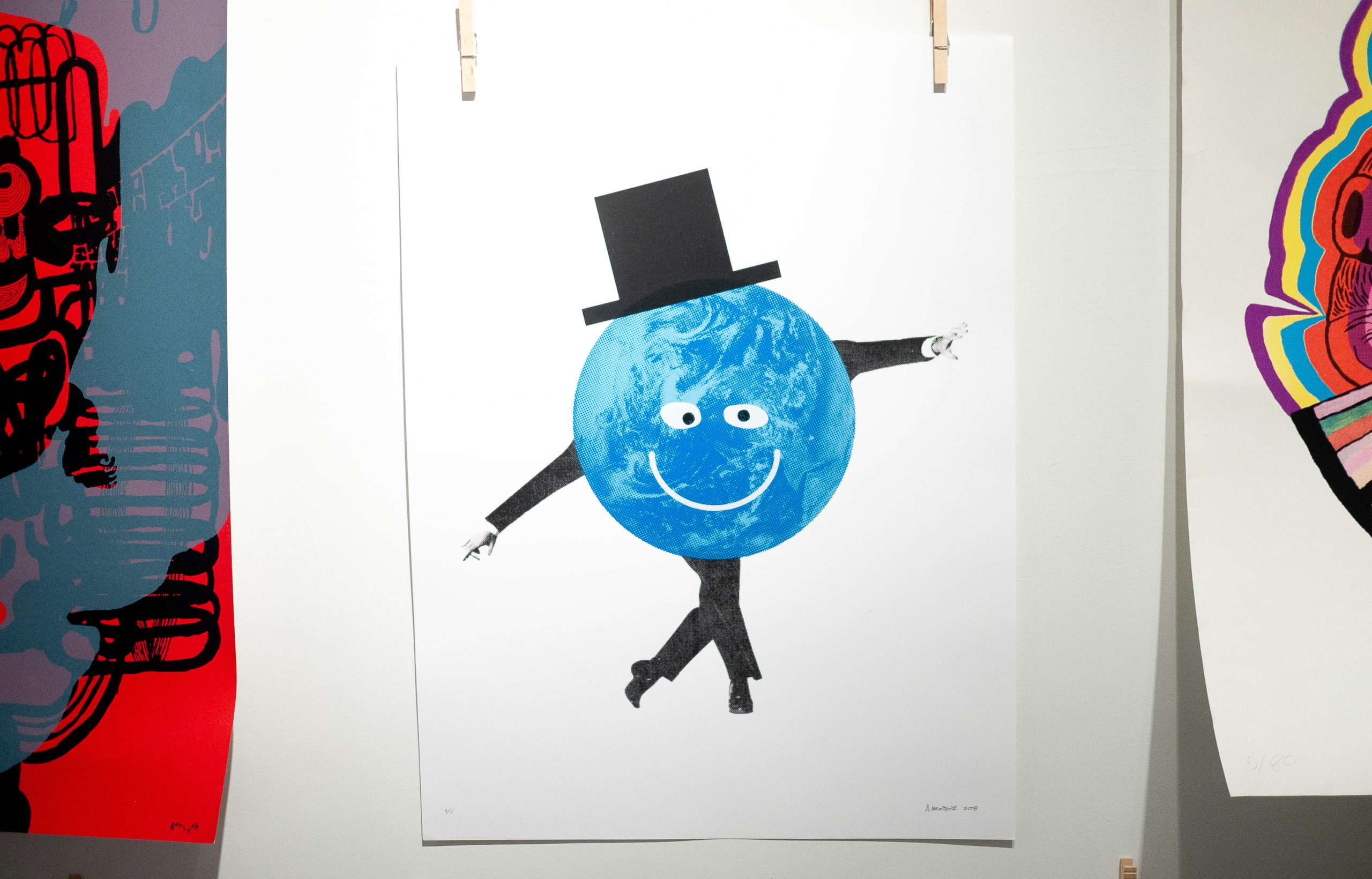 Illustration of Earth with top hat and dancing arms and legs