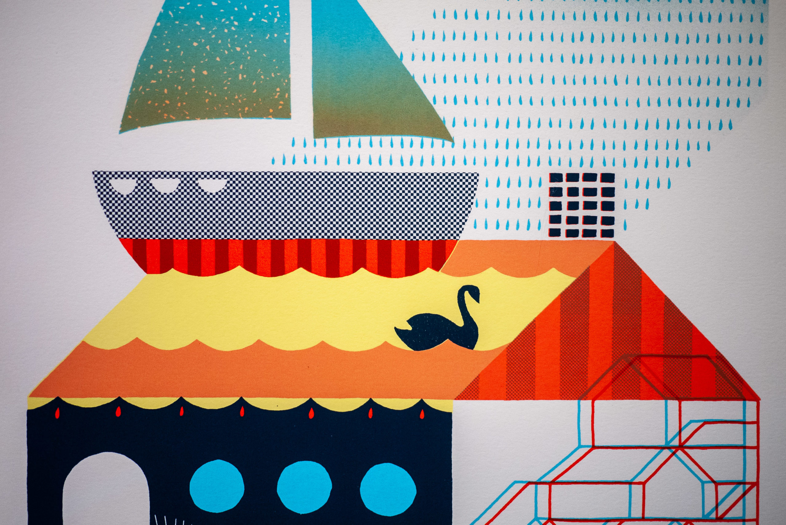 Screen print of a swan on colorful water and a sailboat