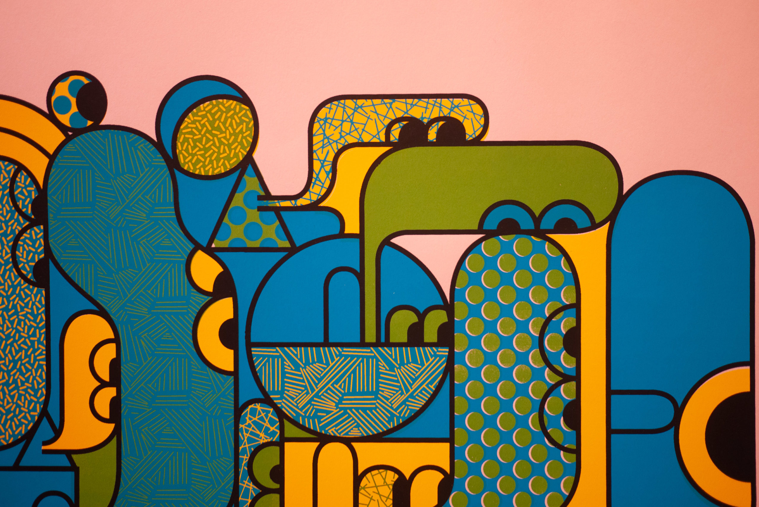 Abstract people in vribrant and pastel colors with thick lines