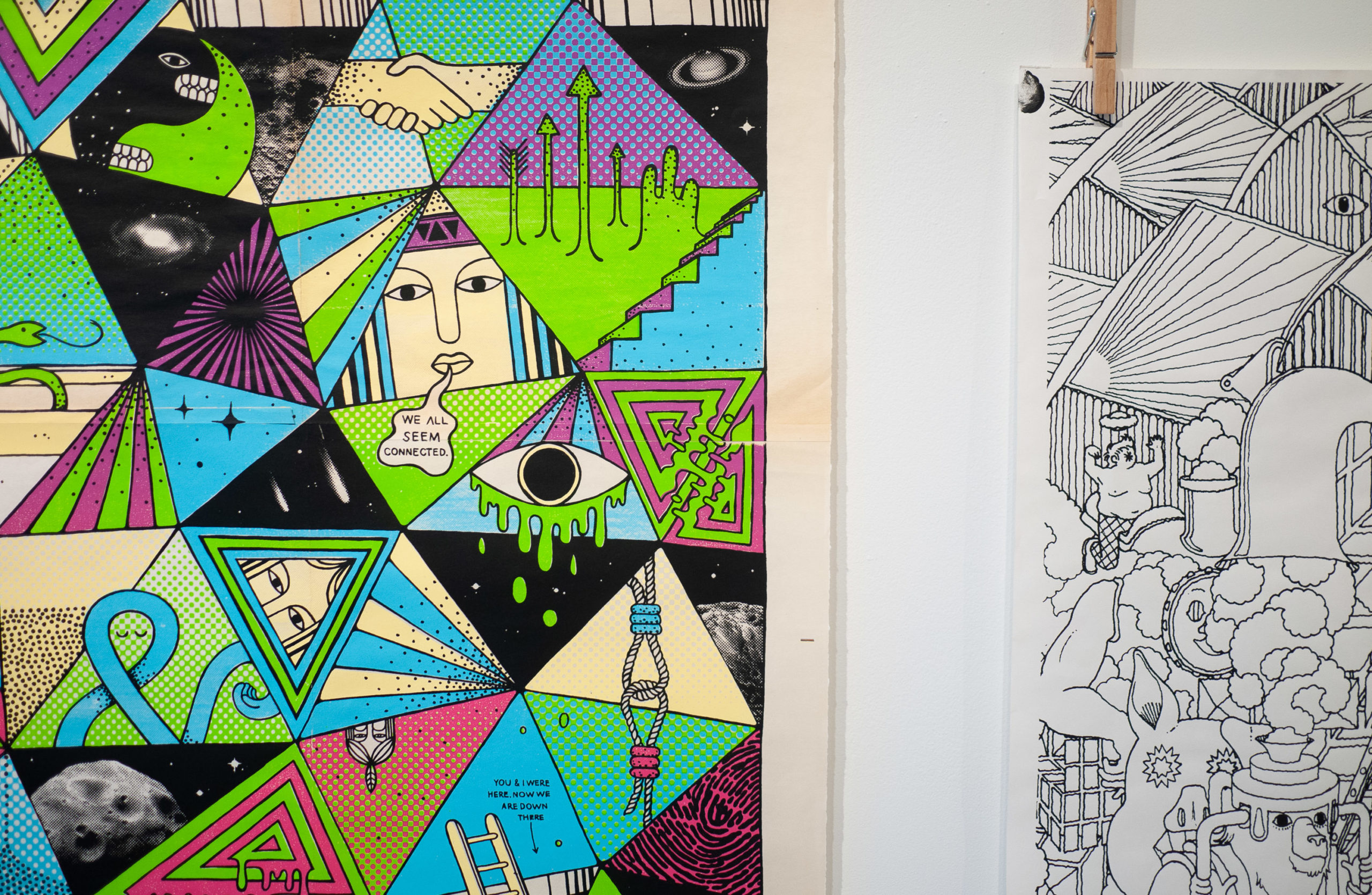 A poster made up of illustrated faces in triangles