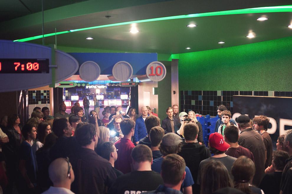 a full movie theater lobby