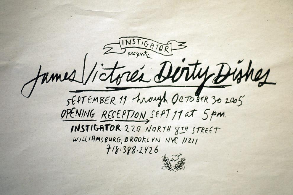Handwritten title of a screen printed poster