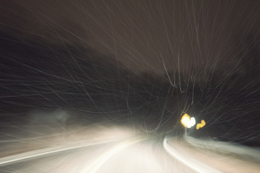 driving at night in snow