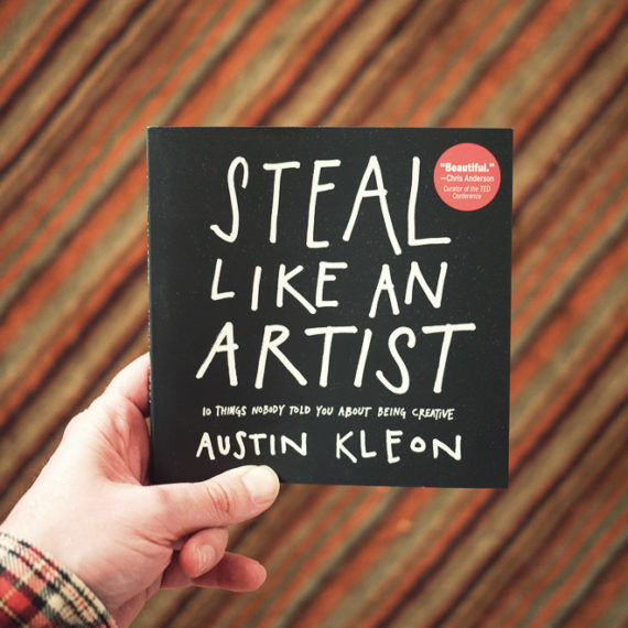 (Steal Like An Artist, and my striped kitchen rug)