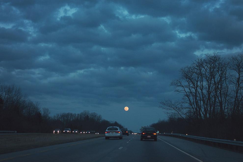 The moon, at late dusk