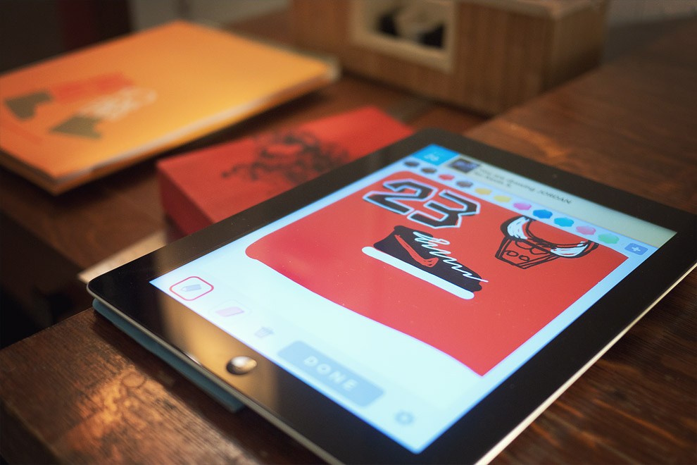 an iPad with a drawing