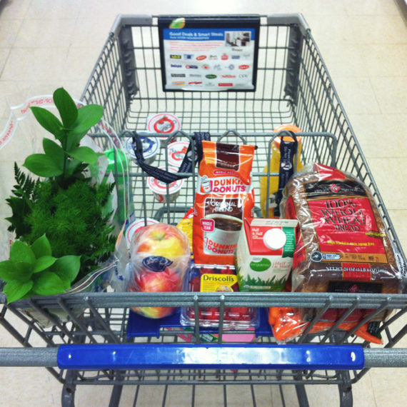a cart full of groceries