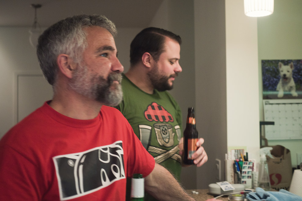 Two bearded men with t-shirts on