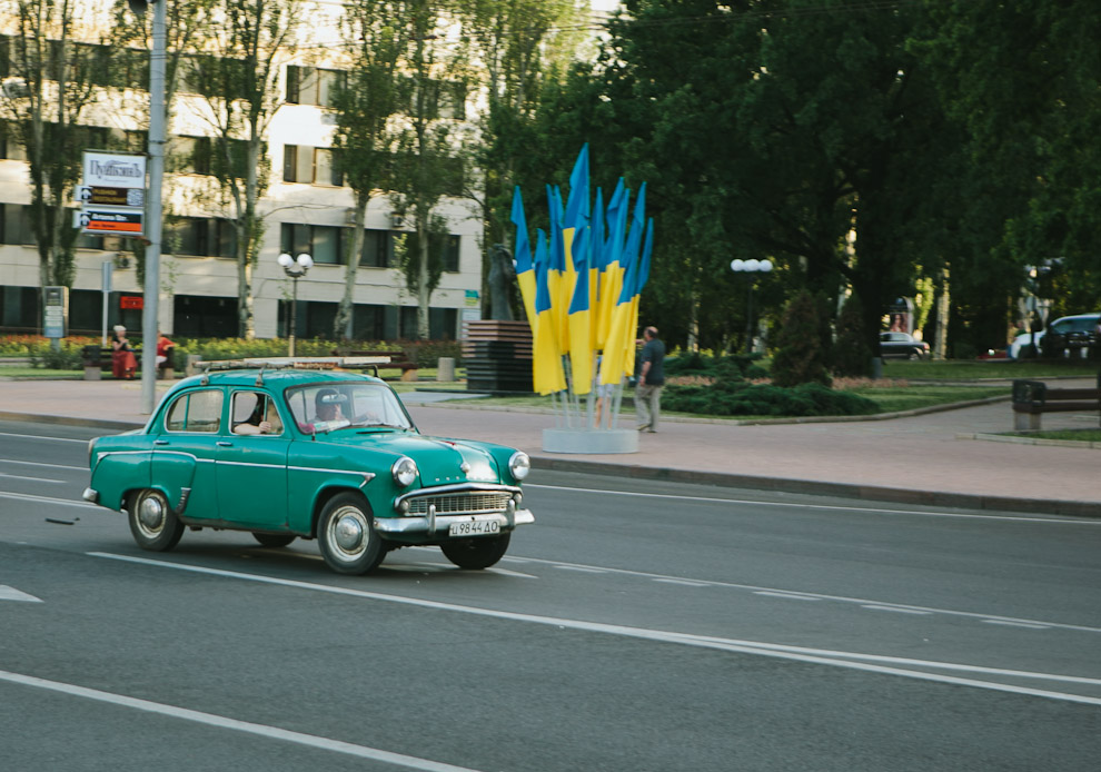 A small green car in Ukraine