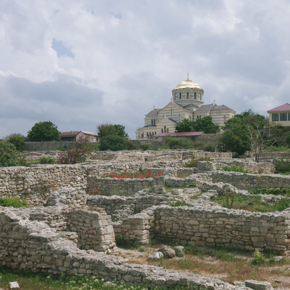 St Vladimir's Cathedra and Chersonesus Taurica greek ruins in Ukraine