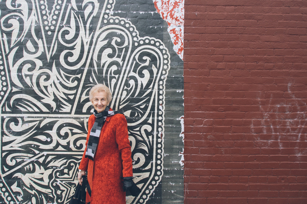 Mom and the Shepard Fairey mural in Northside