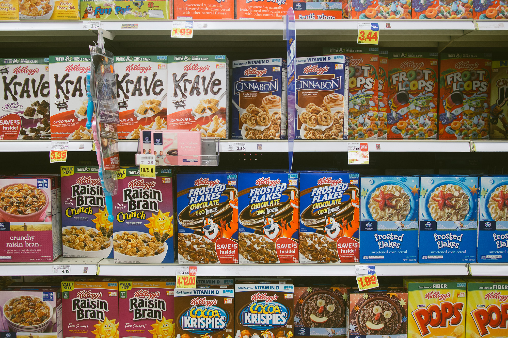 the cereal aisle in a grocery store