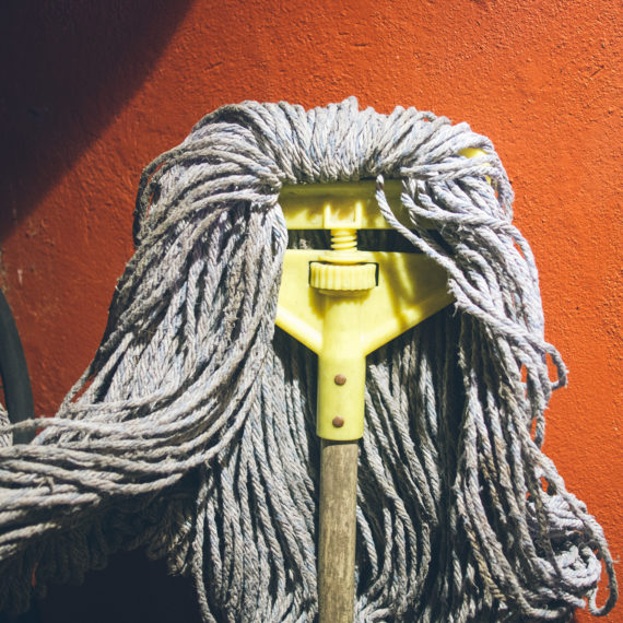 A mop that looks like a head of hair