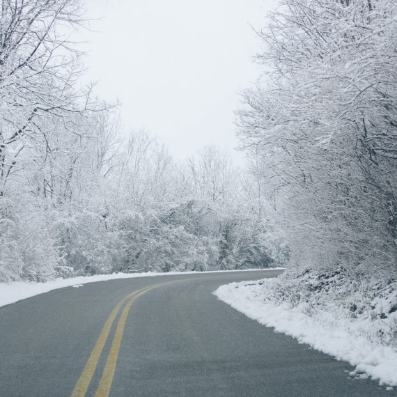 snow on a curved road